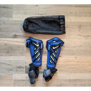 Nike Soccer Shin Guards Blue Size Large